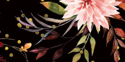 retro-elegancji-wzor-kwiaty-czern-kropki-zloto-zolc-roz-purpura-styl-boho-hauever
